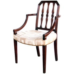 Handsome English George III Sheraton Mahogany Arm Chair