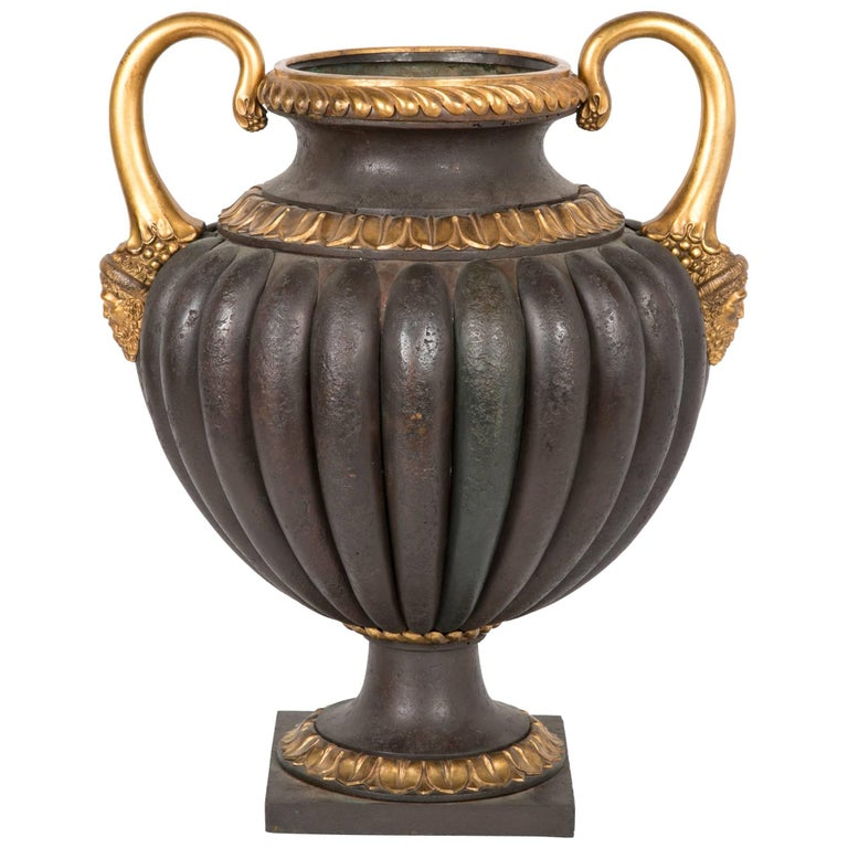 Italian Tole Urn With Parcel Gilt Bronze and Copper Mounts