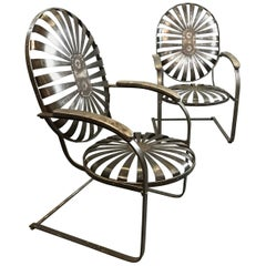 Pair of French Art Deco Cantilever Francois Carré Sunburst Armchairs