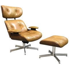 George Mulhauser for Plycraft Tan Leather Lounge Chair and Ottoman