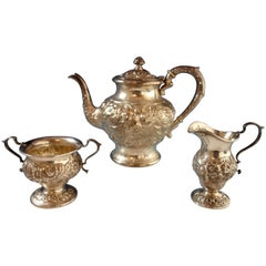 Repousse by Kirk Sterling Silver Tea Set Three-Piece #184AF Hollowware