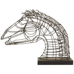 Wire Table Top Horse Sculpture Mounted on a Wood Base