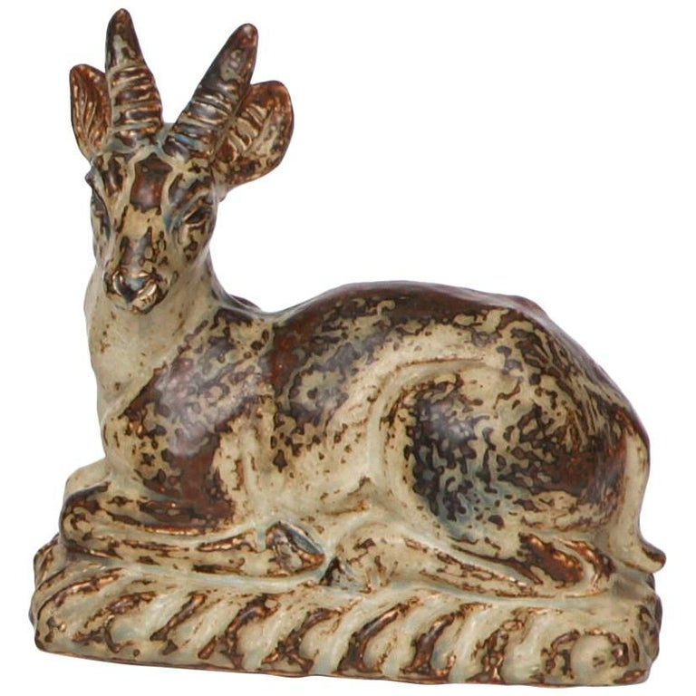 Knud Khyn for Royal Copenhagen, Ceramic Deer, Denmark, circa 1959 For Sale