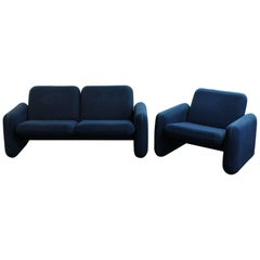 "1970s Modern Ray Wilkes for Herman Miller ""Chicklet"" Loveseat and Chair Sofa Set"