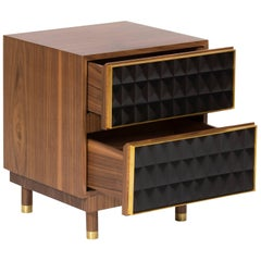 Nightstand in Brass and Walnut, Geometric Paneled Cabinets