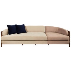 Vago Sofa in Walnut Hardwood with Wicker Back, Contemporary Design
