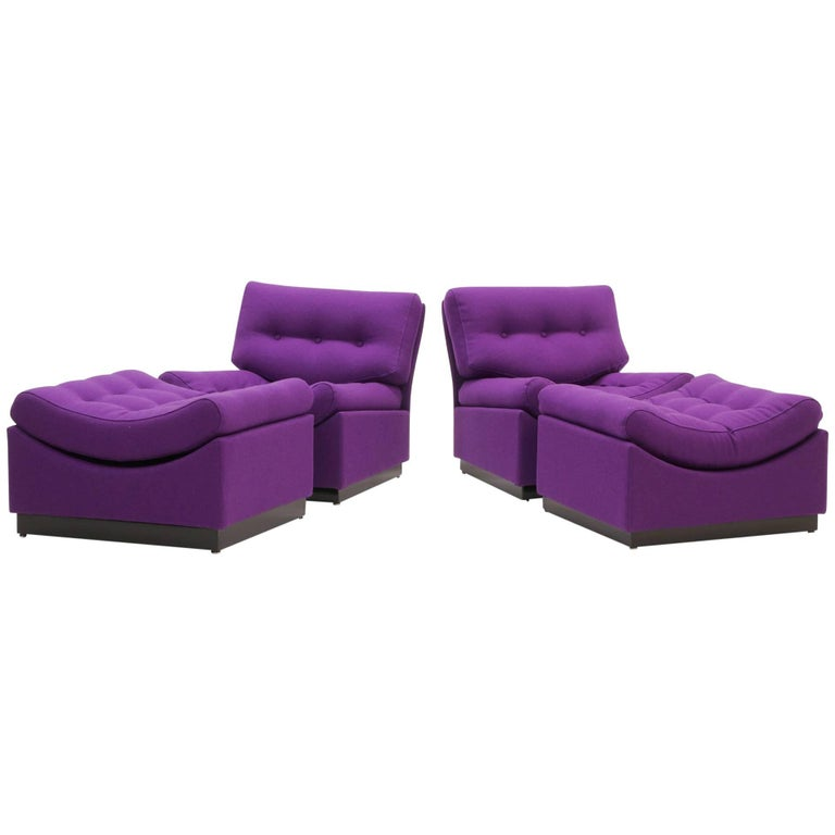 Pair of Low Floor Chaise Lounges, Made in Denmark