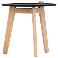 Oak Side Table with Black Top, the 'Comal'