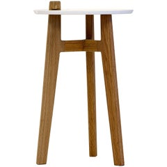 'Comal' Oak Side table with white top