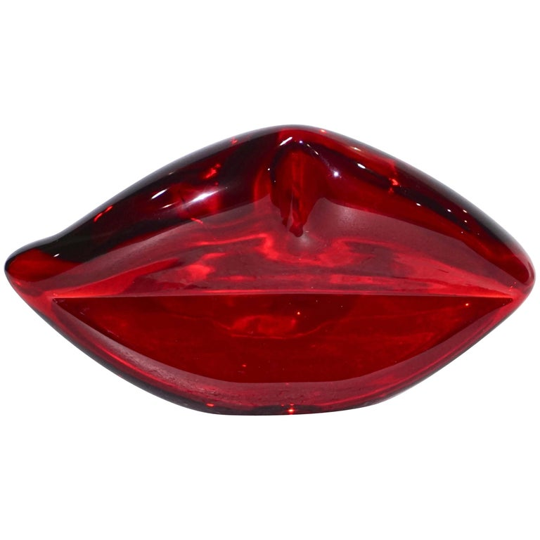 Contemporary Italian Fun Blown Murano Glass Red Lips Decorative Art Sculpture
