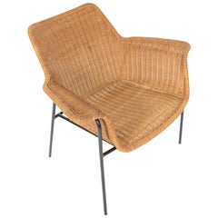 Danish Modern Wicker and Iron Lounge Chair