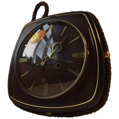 German Bauhaus Suspended Mahogany & Brass Wall Clock with Manuel Movement, 1940s
