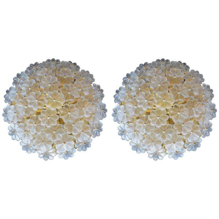 Pair of Glass Flower Flush Mounts