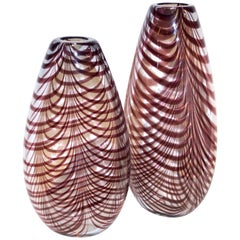 Formia 1970s Two Feather Decorated Purple Brown Crystal Murano Art Glass Vases
