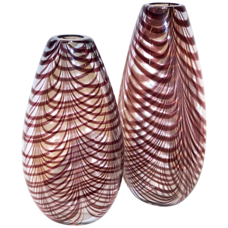 Formia 1970s Two Fenicio Feather Decorated Purple Brown Murano Art Glass Vases  For Sale
