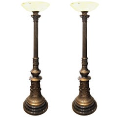 Magnificent Pair of Ornate Bronze Torchieres Floor Lamps with Alabaster Shades