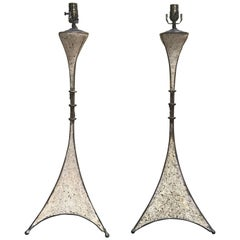 Pair of French Modern Cast Stone and Iron Lamps