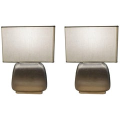 Pair of Grey Glass Table Lamps