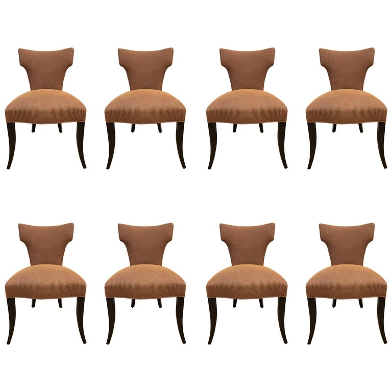 Set of Eight Klismos Style Dining Chairs For Sale