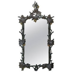 Mirror 19th Century Carved Wood Parcel Gilt with Grape Motif