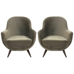 Pair of Gray Mid-Century Modern Italian Style Lounge Chairs
