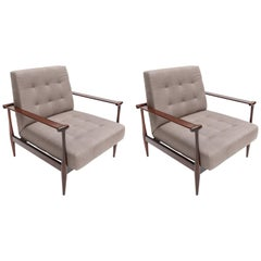 Pair of Liceu de Artes Brazilian Jacaranda 1960s Armchairs in Grey Linen
