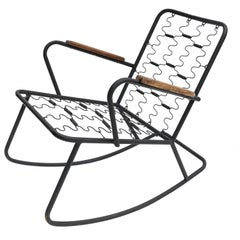 Metal Rocking Chair with Brazilian Jacaranda Wood Arms