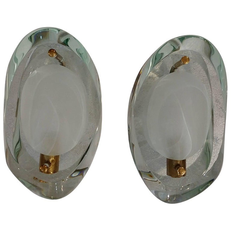 Sconces in the style of Fontana Arte, Italy, 1955 For Sale