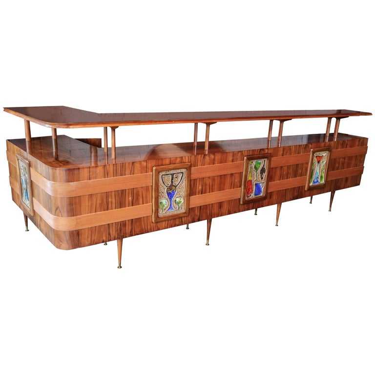 Long Brazilian Jacaranda Bar by Scapinelli For Sale