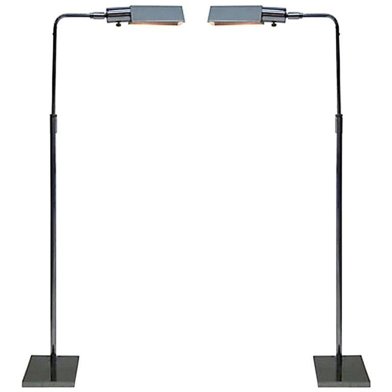 Pair of Koch and Lowy Chrome Adjustable Floor Lamps