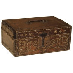 17th Century Studded Leather Box from France