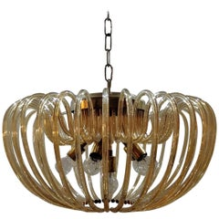 Murano Crystal Chandelier with 36 Curved Glass, Italy, 1960