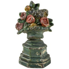 1930s Hubley Cast Iron Petite Floral and Green Urn Bouquet Doorstop