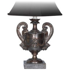 Carved Wood Lamp Vase Design with Antique Silver Finish