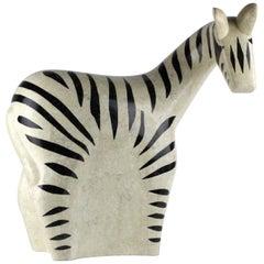 Large Midcentury Inlaid Stone Model of a Zebra by Maitland Smith
