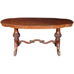 Antique English Style Oval Mahogany Center Table, circa 1850 Leghorn, Italy