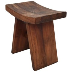 Mid-Century Modern Custom Walnut Stool, After Nakashima