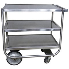 Industrial Three-Tier Stainless Steel Rolling Cart Vintage