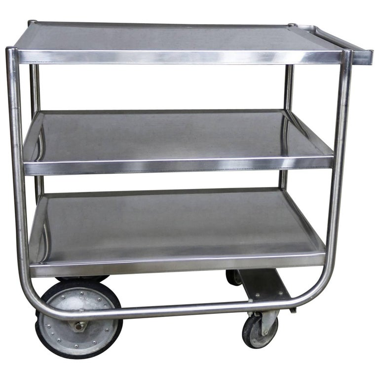Industrial Three-Tier Stainless Steel Rolling Cart Vintage For Sale