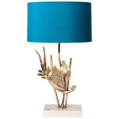 Midcentury Italian Brass Sculptured Table Lamp Sign, Pieffe Turquois Lamp Shade