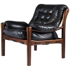 Midcentury Buffalo Leather Easy Chair in the Style of Jean Gillon