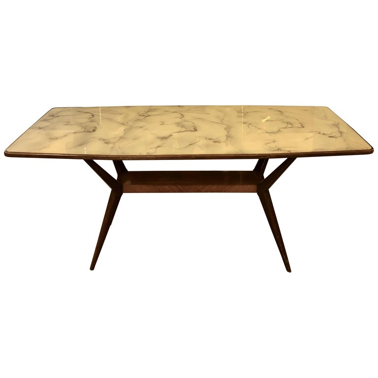 Mid-Century Modern Rosewood Spider-Leg & White Marbled Murano Glass Dining Table