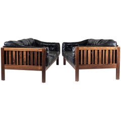"Scandinavian Midcentury Rosewood and Black Leather Sofas ""Monte Carlo"", 1965"
