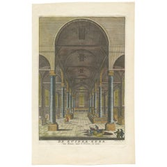 Antique Print of the Interior of a Church Zuiderkerk in Amsterdam