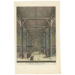 Antique Print of the Interior of a Church in Amsterdam 'Nieuwezijds Kapel'