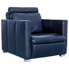 Designer Chair Leather Black Relax Function Couch Modern Minimal Metal