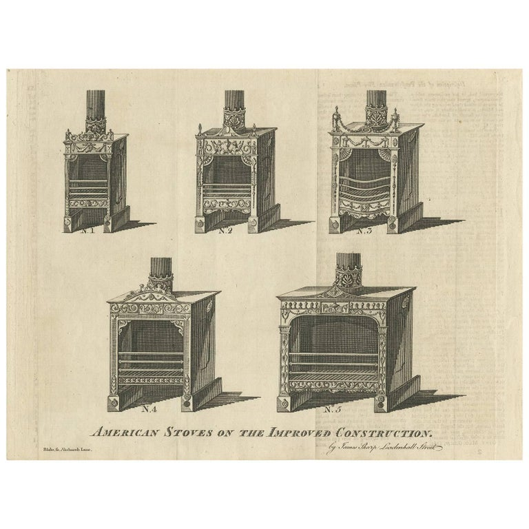 Antique Print of American Stoves Published in the Gentleman's Magazine, 1781
