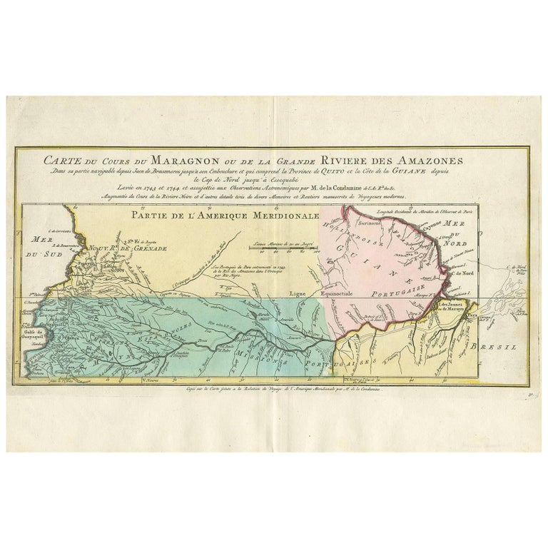Antique Map of the Course of the Amazon River by E. Van Harrevelt, 1773 For Sale
