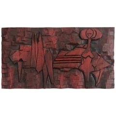Jean Claude Gaugy Modernist Abstract Wood Carving
