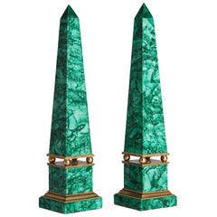 Russian Malachite Obelisks and Gilt Bronze, 19th Century
